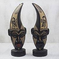 African wood masks, 'Sankofa Twins' (pair) - African Wall or Table Masks with Adinkra Symbols (Pair)