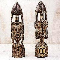 African wood masks, 'Hope and Interdependence' (pair) - Hand Carved African Masks with Akan Symbols (Pair)