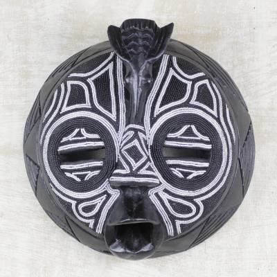 African beaded wood mask, 'Dark Dove' - Artisan Hand Beaded Black and White Mask