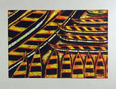 Batik cotton art, 'The Real Tuesday' - West African Batik Painting of Canoes from Ghana