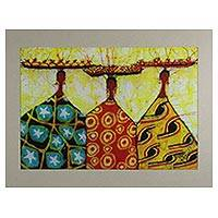 Cotton batik art, 'Adiza, Adzara and Abiba' - Handmade Wax Cotton Print from West Africa
