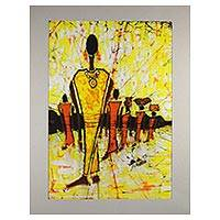 Batik cotton painting, 'The Retinue' - African Batik Painting on Calico of Queen and Her Retinue