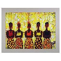 Batik cotton wall art, 'Debt Collectors' - West African Batik Wall Art of Women Titled Debt Collectors