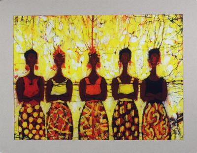 Batik cotton wall art, 'Debt Collectors' - West African Batik Wall Art of Women Titled Debt Collectors