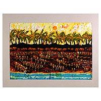 Batik cotton wall art, 'Day Before Tuesday' - Signed West African Batik Painting of Fishermen from Ghana
