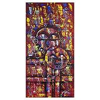'Akuaba Doll II' - Expressionistic Acrylic Painting of African Fertility Dolls
