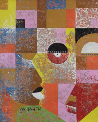 'Faces' - Bold and Colorful Cubist Painting of Abstract Faces