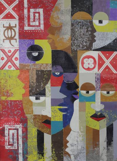 'Society' - Original Signed West African Cubist Painting