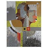 'Rivals' - Unique Cubist Style Acrylic on Canvas Painting from Ghana