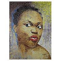 'Ahoufe' - Original Portrait of a Women Acrylic Painting from Ghana