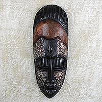African wood mask, 'Lord Mantse' - Hand Carved West African Wood and Aluminum Wall Mask