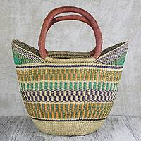 Leather accented raffia tote bag, 'Supper Basket' - Hand Woven Raffia Natural Fiber Tote with Leather Strap