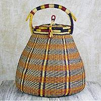 Raffia basket, 'Bounteous' - Colorful Handwoven West African Raffia Covered Basket