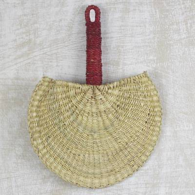 Raffia hand fan, Cool Breeze