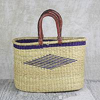 Leather accented raffia tote bag, 'Oval Basket' - Hand Woven Raffia Tote with Leather Handles