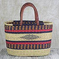 Leather accented raffia tote bag, 'Kite Basket' - Hand Woven Raffia Natural Fiber Tote with Leather Strap