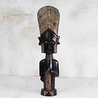 Wood African statuette, 'Fante' - Dark Red and Black Wood Hand Carved African Statuette