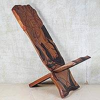Wood chair, 'Relaxing Elephant' - Handcrafted Elephant-Themed Wood Chair from Ghana