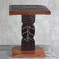 Wood accent table, 'Magnificent Elephant' - Hand Carved Sese Wood Elephant Accent Table from Ghana