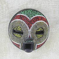 African beaded wood mask, 'Sleepy Beauty' - African Recycled Glass Beaded Sese Wood Mask from Ghana