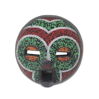 African Wood Mask Beaded with Recycled Glass from Ghana