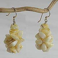 Agate cluster earrings, 'Sandy Shores' - Hand Crafted Agate Cluster Earrings from Ghana