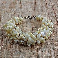 Agate beaded bracelet, 'Sandy Shores' - Hand Crafted Agate Beaded Bracelet from Ghana