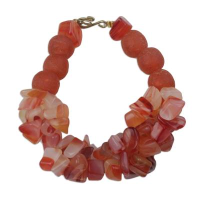 Handmade Coral Red Agate and Recycled Glass Beaded Bracelet
