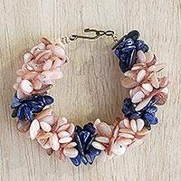 Agate beaded bracelet, 'Agate Splendor' - Peach and Blue Agate Chip Beaded Bracelet with Hook Clasp