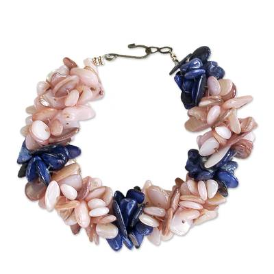 Peach and Blue Agate Chip Beaded Bracelet with Hook Clasp