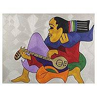 Silk thread wall art, 'The Rasta Man and His Guitar' - Handmade West African Threadwork Art of Guitarist