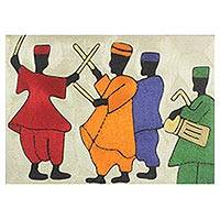 Silk thread wall art, 'The Northern Dance III' - West African Drumming and Dancing Themed Threadwork Art