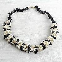 Agate beaded necklace, 'Magical Monochrome' - Black and Off-White Agate Beaded Necklace Handmade in Ghana