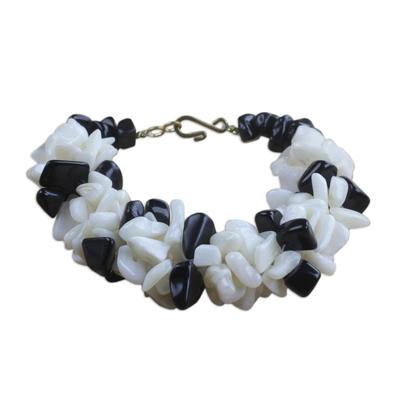Black and Off-White Agate Beaded Bracelet Handmade in Ghana