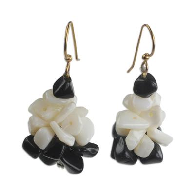 Black and Off-White Agate Cluster Earrings Handmade in Ghana