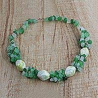 Agate beaded necklace, 'Selorm' - Handmade Agate Beaded Necklace with Recycled Glass Beads
