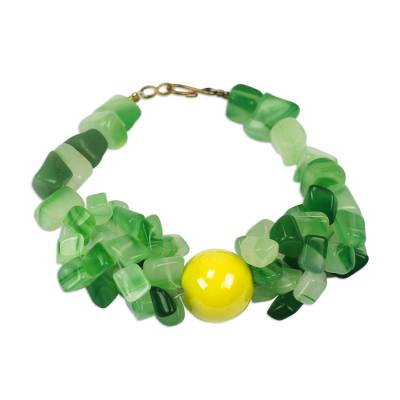 Handmade Agate Beaded Bracelet with Recycled Glass Beads