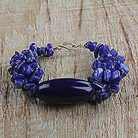 Agate and recycled glass beaded bracelet, 'Indigo Delight' - Indigo Agate and Recycled Glass Beaded Bracelet from Ghana