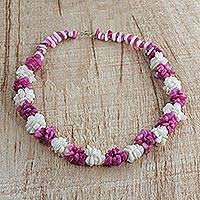 Agate beaded necklace, 'Sweet Delight' - Handmade Pink and Off-White Agate Beaded Necklace