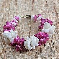 Agate beaded bracelet, 'Sweet Delight' - Handmade Pink and Off-White Agate Beaded Bracelet from Ghana