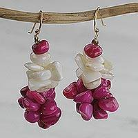 Agate beaded cluster earrings, 'Sweet Delight' - Handmade Pink and Off-White Agate Chip Cluster Earrings