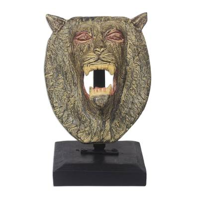Artisan Crafted Lion Head Sculpture on Wooden Stand
