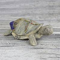 Wood and recycled glass bead statuette, 'Little Turtle' - Hand Carved Wood and Recycled Glass Beaded Turtle Statuette