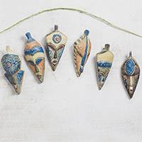 Wood ornaments, 'Ashanti Celebration' (set of 6) - Set of 6 Handcrafted Mini African Mask Ornaments
