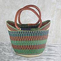 Leather accent raffia handle handbag, 'Autumn's Harvest' - Ghanaian Handwoven Leather Trim Raffia Basket Bag