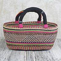 Raffia basket, 'Geometric Rainbow' - Colorful West African Handwoven Open Raffia Basket