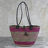Leather accent raffia shoulder bag, 'Zigs and Zags' - Hand Woven Leather Trim Raffia Multicolored Shoulder Bag