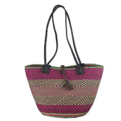 Hand Woven Leather Trim Raffia Multicolored Shoulder Bag