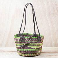 Leather accent raffia tote bag, 'Earthen Tones' - Hand Woven Artisan Crafted Earthtone Raffia Tote Bag Basket