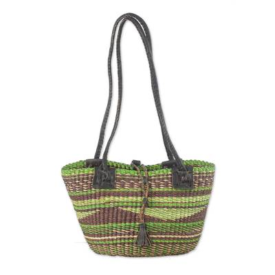Hand Woven Artisan Crafted Earthtone Raffia Tote Bag Basket
